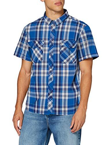 Brandit Herren Roadstar Shirt Hemd, Blau/Weiß, 3XL