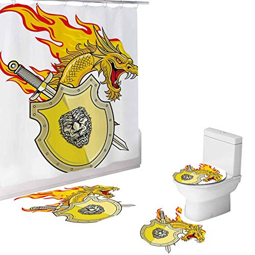 Dragon 4 Piece Bathroom Set,Creature with Royal Shield Sword Hero,72'x72'Shower Curtains with Toilet Pad Cover Bath Mat Shower Curtain Set Marigold Pistachio Green