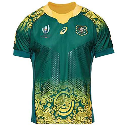 2019 Japan Weltmeisterschaft Rugby Trikot Australian Team Kurzarm Sport Shirt T-Shirt Fan Version American Kleidung Ohne Falten Polyesterfaser Gr. 56, Auswärts