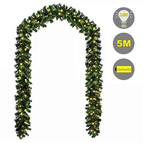 Baunsal GmbH & Co.KG Weihnachtsgirlande Tannengirlande Girlande grün 5 m und Lichterkette mit Micro LEDs