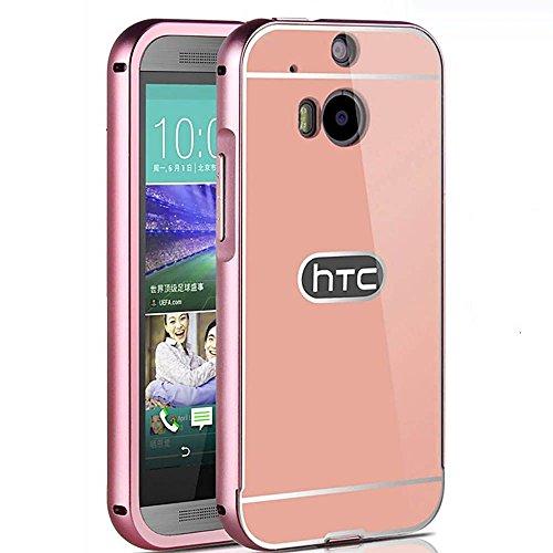 HuntGold Aluminium Legierung Rahmen + PC Rückseite Spiegel Harte Schutzfolie Abdeckung für HTC One M8 Rose Gold