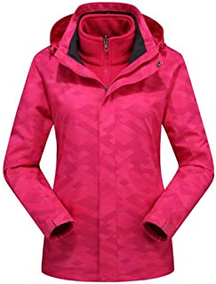 FYXKGLa Ladies Camouflage Jacket Warm Windproof Mountaineering Outdoor Hooded Jacket (Color : Rose, Size : L)