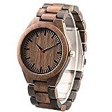 Reloj de pulsera de madera grabado personalizado nogal y ébano hecho a mano reloj casual de madera...