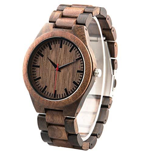 Reloj de pulsera de madera grabado personalizado nogal y ébano hecho a mano reloj casual de madera analógico movimiento de cuarzo reloj personalizado para él