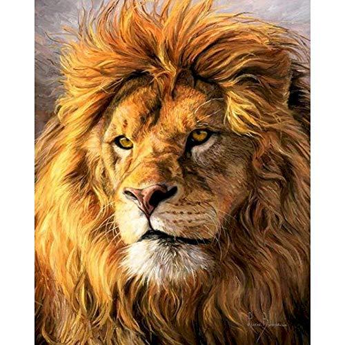 Pintura por números para adultos, animales, pintura acrílica, imagen por números, decoración artística de pared de León, regalo pintado a mano A13 40x50cm