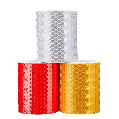 Reflektorband,Reflektorband selbstklebend, 3 Rolle Selbstklebend Warnklebeband, 5cm*3m Warnband für Fahrrad, Wagen, Caravan, Anhänger(Gelb,Rot,Weiß)