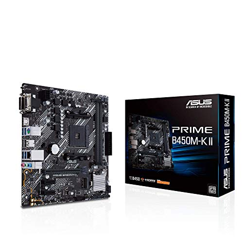 Asus PRIME B450M-K II, Scheda madre micro ATX AMD B450 (Ryzen AM4) con supporto M.2, HDMI/DVI-D/D-Sub, SATA 6 Gbps, 1 Gb Ethernet, USB 3.2 Gen 1 Type-A, BIOS FlashBack