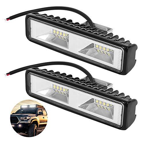Faro Lavoro LED, 48W 2 PCS Barra Faretto LED Fuoristrada Fari di Profondità Impermeabile IP67 6000K Luci di Lavoro Fuoristrada per Moto Auto ATV SUV Trattore