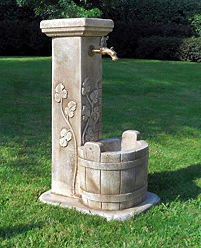 pompidu-living Standbrunnen Luna - Brunnen aus Marmor in echter Handarbeit - Der ideale Gartenbrunnen in Terracotta, 86 x 38 x 49 cm