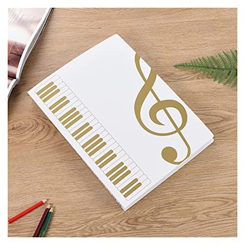 WANGYA Uquelic Cartella Portadocumenti 40 Pagine Libro Musicale Clip A4 Scheda Tecnica Data Music Folder Stave Clip Piano Clip Clip Insert Clip File Filers Cartella archivio (Color : Gold)