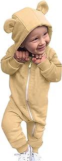 طفل الفتيات الفتيان رومبير الخريف الشتاء الدافئة الملابس الوليد مقنع بذلة 0-24 متر (Color : Khaki, Kid Size : 12-18 Months)