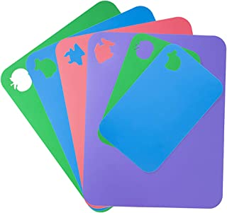 Flexible Cutting Board for Kitchen 14.96X12 Thick 1.2mm Set of 6 Flexible Cutting Board Mats With Food Icons Assorted Colors Plastic-Cutting-Board-for-Kitchen SUPERKIT