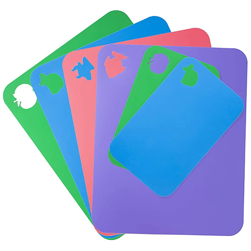 Flexible Cutting Board for Kitchen 14.96X12 Thick 1.2mm Set of 6 Flexible Cutting Board Mats With Food Icons Assorted Colors Flexible Plastic Cutting Board