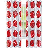jinguizi Cortina opaca térmica aislante casino realista dados símbolo oportunidad W42 x L84 drapeado para puerta de vidrio