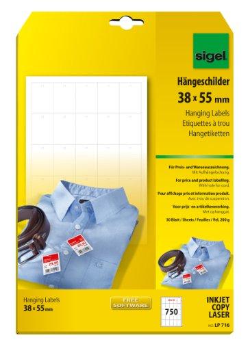 SIGEL LP716 Warenanhänger weiß, mit Aufhängeloch (A4, 38x55 mm) 750 Stück