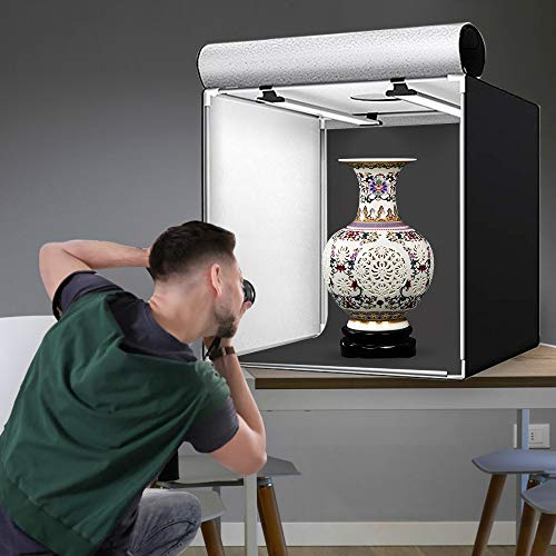 【2021進化版】撮影キットSAMTIAN83x83x83cm超大型撮影ボックス4色背景シート(黒、白、オレンジ、青)スタジオボックスプロな撮影セット超高輝度12000ルーメ126個SMDライト調光器付きマルチアングル撮影可能CRI95以上折り畳み式収納便利組立簡単携帯可能