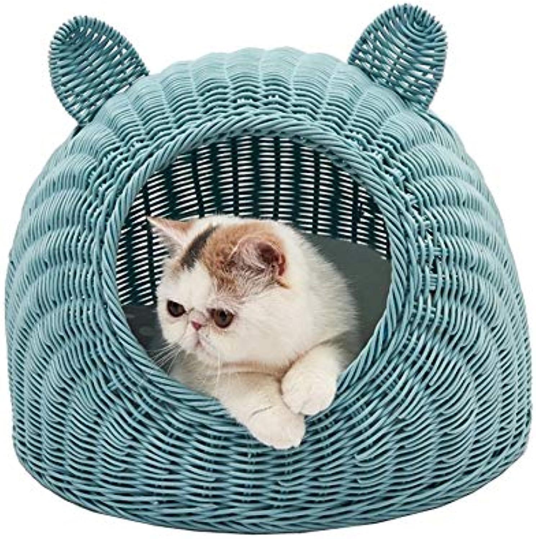 Nosteropou Rattan cat Litter Summer Small Pet nest cat cat House Small Dog Kennel, Environnemente sicuro e facile da pulire, carino ed unico, adatto a tutti i tipi di casa (Colore: Blu, Dimensione: M)