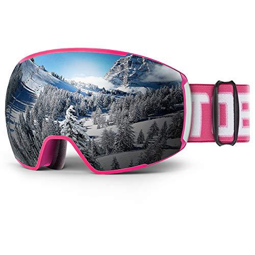 ToBa Ski Goggles Snowboard Snow Goggles OTG - Pink Frame Silver Lens VLT 10%