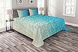 ABAKUHAUS Die Architektur Tagesdecke Set, Gr& Monochrome Wand, Set mit Kissenbezügen Feste Farben, für Doppelbetten 264 x 220 cm, Azurblau Hellgrün