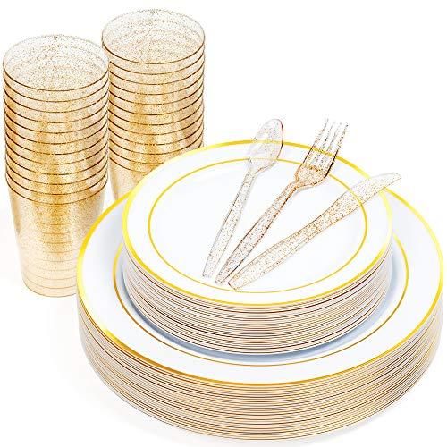 Matana 150 Pz Set di Stoviglie Monouso in Plastica Dura - 50 Elegante Piatti USA e Getta con Bordo Oro (25 Piatti Cena & 25 Piatti Dessert), 25 Cucchiaini, 25 Forchette, 25 Coltelli, 25 Bicchieri.