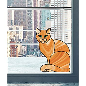 A Stained Glass Cat Window Decor Stained Glass Cat for Cat Lovers Peeking Cat Peek cat Stain Glass cat