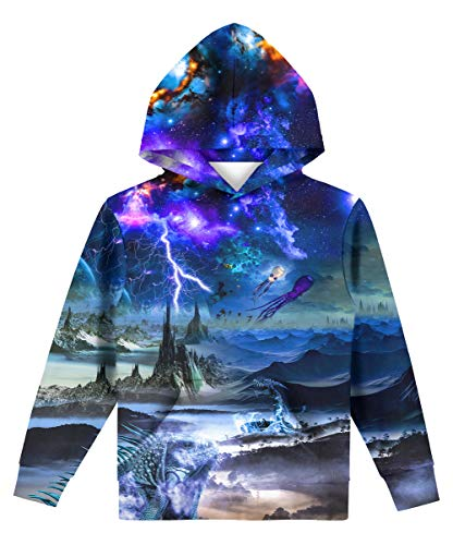 Hgvoetty Unisex 3D Hoodies Cool Youth Graphic Casual Sweatshirts for Boys Girls Galaxy Design14-15 Years
