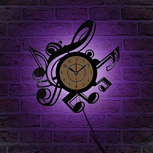 MESYR Reloj de Pared de Vinilo Novedad Sala de Estar Reloj de Pared de Vinilo Retro Vintage Temas Musicales CD Reloj de decoración para el hogar 3D Grande