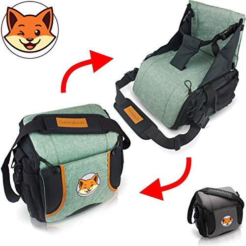 Original Zwinkerfuchs Boostersitz - Sitzerhöhung+Tasche vereint - Wickeltasche in Baby Reisesitz verwandeln (grün)
