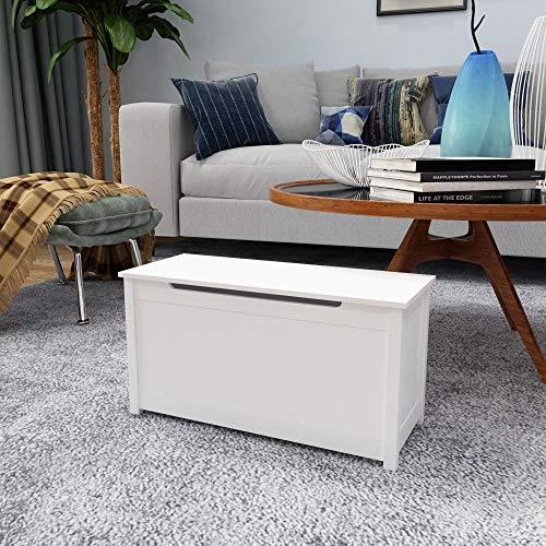 woodluv Baúl de almacenamiento grande de madera MDF para dormitorio, baño, pasillo, organizador – blanco