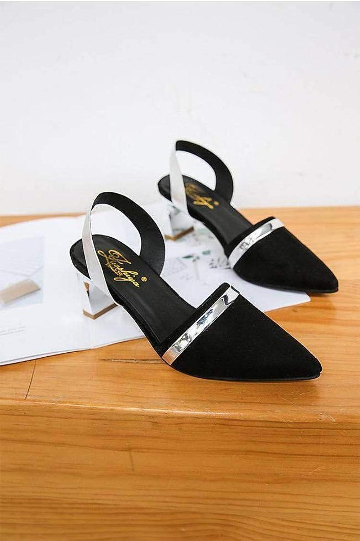 Women's Ladies Casual Lightweight Sandal shoes SlipOn Loafers MidHeel Summer Beach Close Toe Rough Heels Rubber Sole Slim Buckle Suede Upper Sandal Flip Flops for Women, NX