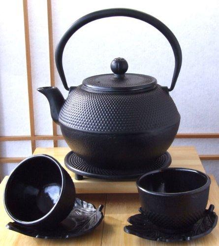 Tazze, sottobicchiere, sottopentola e Tetsubin ghisa nera Hobnail teiera bollitore 1,2 l stile giapponese