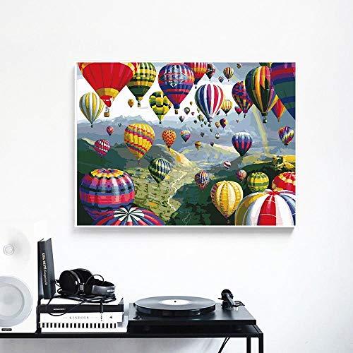 Set olieverfschilderijen om zelf te maken op canvas, handgeschilderd, cadeau voor ballonnen en landschappen, decoratie thuis, digitaal schilderijen, 40 x 50 cm, zonder lijst