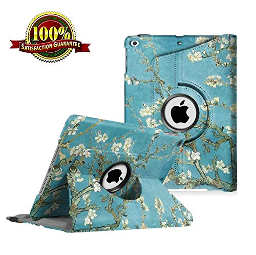 iPad 9.7 inch Case 2018 2017/ iPad Air Case - 360 Degree Rotating Stand Protective Cover Smart Case with Auto Sleep/Wake for Apple iPad 5th/6th Generation (Blossom)