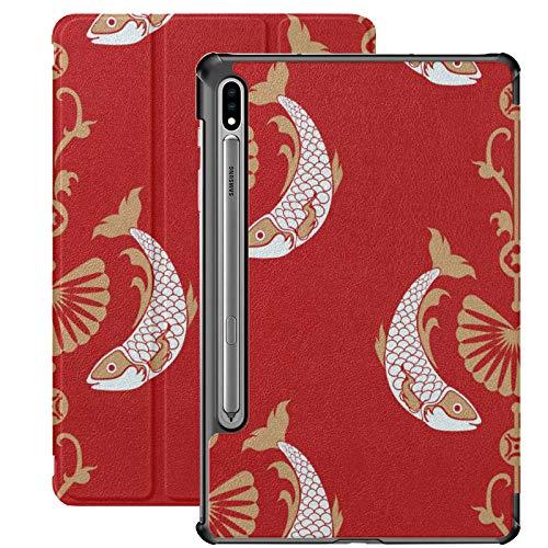 Estuche para Samsung Galaxy Tab S7 de 11 Pulgadas 2020, patrón de Kimono japonés Carp Fish Lotus Estuche Delgado de Tres Pliegues con activación/suspensión automática para el Modelo de Lanzamiento