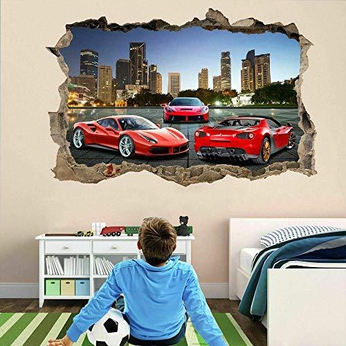 3D Pegatinas De Pared Super Sports Cars Habitación Infantil Kindergarten Nido Dormitorio Decoración 15x23inch(40x60cm)