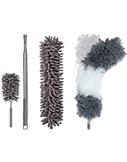 JEBBLAS Microfiber Dusters for Cleaning with Extension Pole , with 2 Bendable Head &1 Mini Duster, Scratch-Resistant Cover, Bendable, Washable, Detachable, Extendable Duster for
