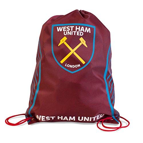 West Ham United FC - Mochila deportiva con cordón oficial (Talla Única) (Granate)