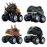 GreenKidz プルバックカー のおもちゃ 最高の 恐竜 モンスター トラック マシン 恐竜パーティーの記念品 ゲーム 6歳の男の子 や 子供、幼児向け ミニ4個セット ギフト 誕生 日用品 ティラノサウルスの恐竜のおもちゃ(4個)