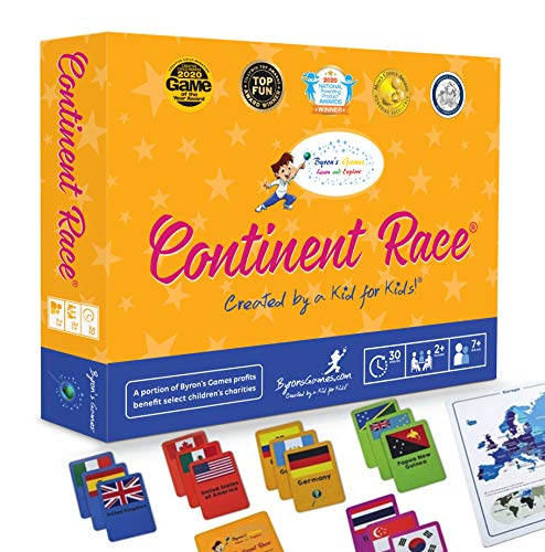 Continent Race Geography Learning Educational Game for Kids 7 Years and Up Trivia Card Board Game for Family Activities, Game Night by Byron's Games Award Winning