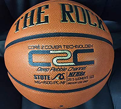 """The Rock 28.5"""" Official Women's Composite Leather Basketball - Superior Air Retention and Durability - Exclusive Patented Unique Deep Pebble Channel Design - Comes w/ Certificate of Authenticity"""