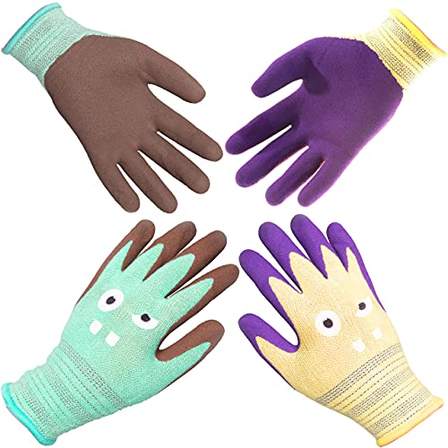 COOLJOB 2 Pairs Kids Gardening Gloves for Ages 2-12, Toddlers Rubber Coated Work Gloves, Gift Set for Boys & Girls, Green & Yellow, Small Size for Age 2-5 (2 pairs S)