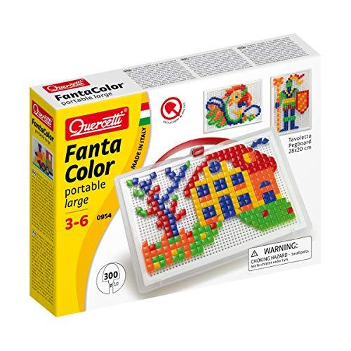 Quercetti - Juego de composición grande portátil Fanta Color, multicolor, 300 piezas, 0954, 3-6 años