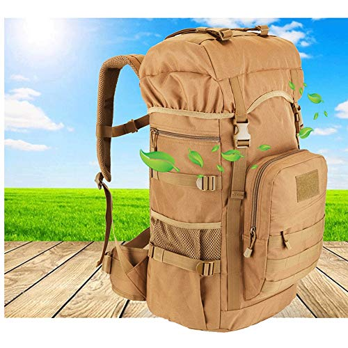 MISLD Backpacks Men or Women Shoulder Backpack Waterproof on Foot Mountaineering Bag Travel Bag Waterproof Daypack With Rain Cover Available for Outdoor Fishing Travel Cycling Skiing (Color : Khaki)