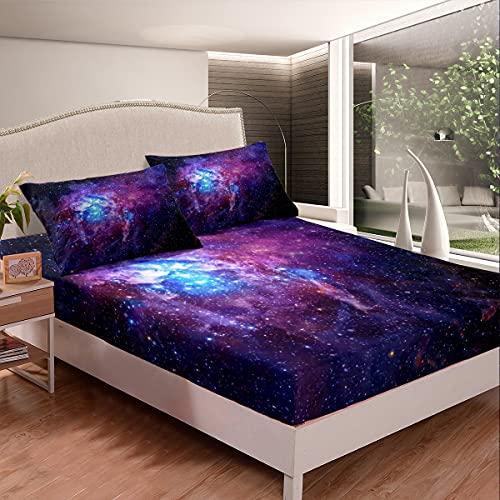 Galaxis Spannbettlaken 90x200cm, 3D Gedruckter Weltraum Spannbetttuch für Kinder Jungen Mädchen Erwachsene, Funkelnder Sternennebel Spannbetttuch Bettlaken Set Ultra weich 2St
