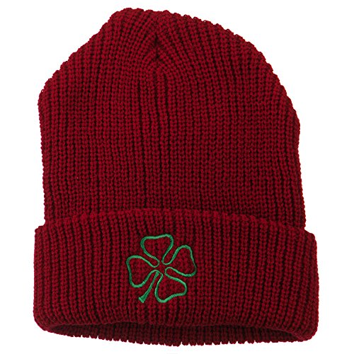 Four Leaf Clover Embroidered Watch Beanie - Red OSFM