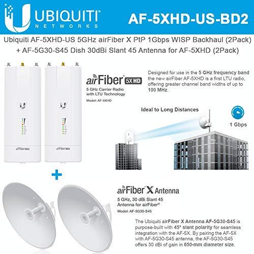 AF-5XHD US (x2) 5GHz airFiber X 1Gbps Backhaul with AF-5G30-S45 (x2) 30dBi Slant 45 Antenna