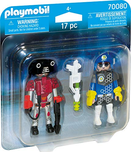 PLAYMOBIL- Duo Pack Duopack Policia Espacial, Color carbón (70080)