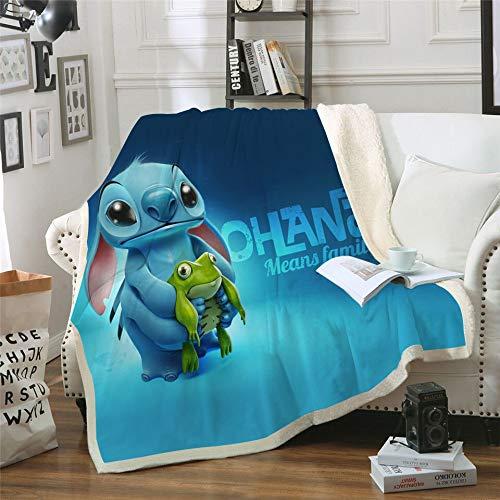 Proxiceen Lilo & Stitch - Manta de franela de microfibra, para sofá, para la oficina (estilo 1,150 x 200 cm)