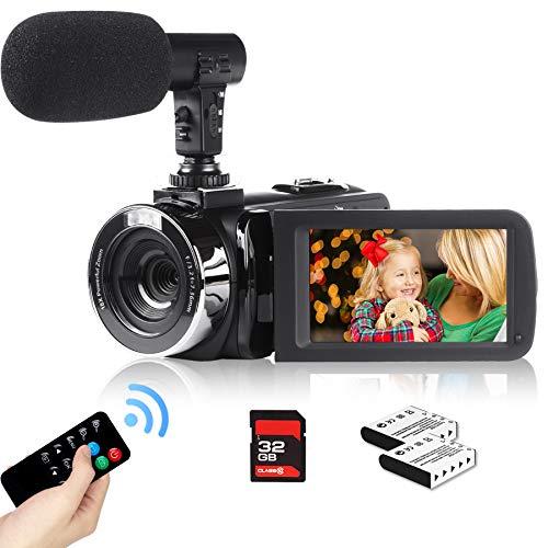 Heegomn 2.7K Videocámara para Youtube Vlogging, 2688x1520P Kit de cámara de Video Digital HD de Ultra Alta definición con micrófono Externo Profesional, Tarjeta SD, 2 baterías, Control Remoto
