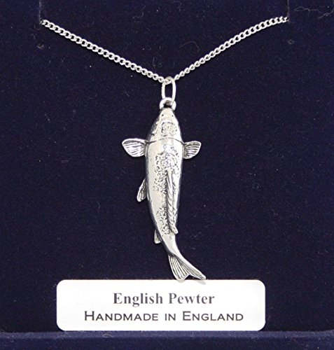 Koi Carp Fish Pewter Charm with Chain (Gift Boxed)